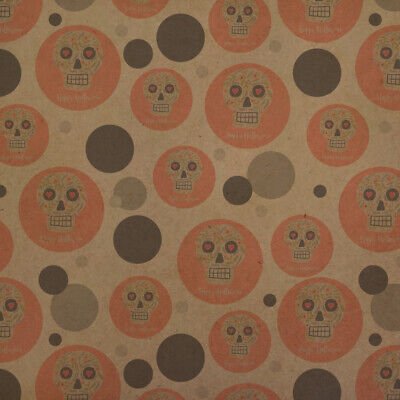 Happy Halloween Fun Floral Skull Premium Kraft Gift Wrap Wrapping Paper Roll](Halloween Gift Wrapper)