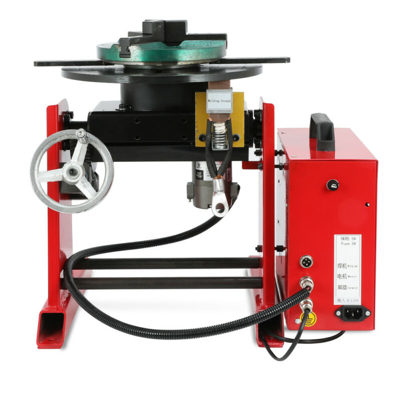 30KG Rotary Welding Positioner Time-controller 0-90º Tilte Table Three-jaw Chuck