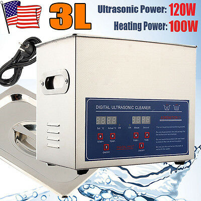Stainless Steel 3l Liter Industry Heated Ultrasonic Cleaner Heater Wtimer New