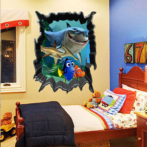 Hot finding nemo dory 3d view art wall stickers decals for Finding dory wall decals