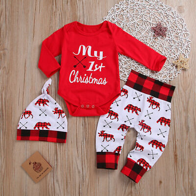 My 1st Christmas Baby Boy Girl's Newborn Xmas Clothes Romper+Pants Casual -
