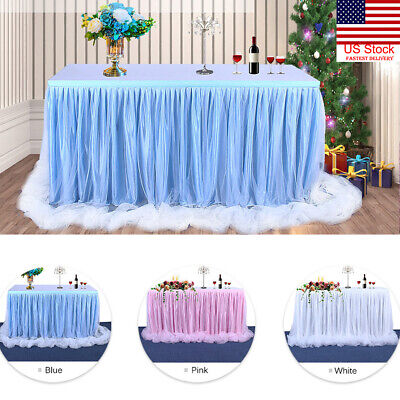 US 6ft Wedding Tulle Tutu Table Skirt Party Birthday Festive Baby Shower Decor - Party Decorations Baby Shower