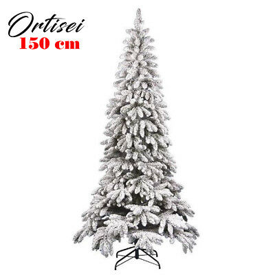 Albero Di Natale Innevato Slim 150 cm Ortisei 635 Rami Super Folto Effetto Neve
