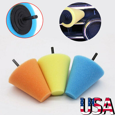 Foam Polishing Cone Shaped Buffing Pads for Wheels - Use with Power Drill -