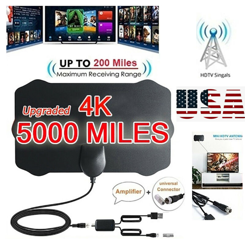 5000 Mile Range HDTV Antenna 4K HD Indoor Digital TV Aerial Signal Amplifier USA