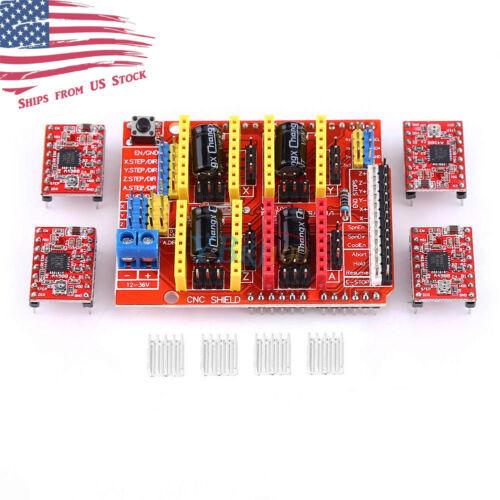 CNC Expansion Shield V3 + 4pcs A4988 Stepper Driver For Arduino Uno Mega2560 US