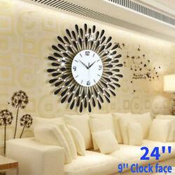 24'' 3D Digital Luxury Diamond Wall Clock Living Room Metal Needle Home Decor US