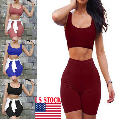US Women Bodycon Sexy Two Piece Set Crop Top Pants Casual Outfit Shorts Clubwear