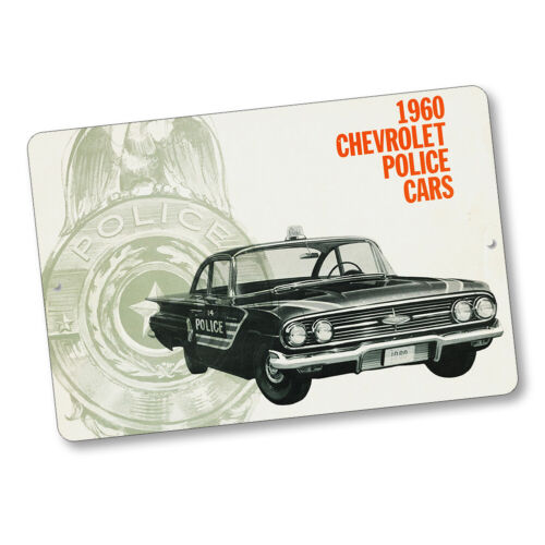 1960 Chevrolet Police Car Brochure Advertisement Design 8x12 In. Aluminum Sign