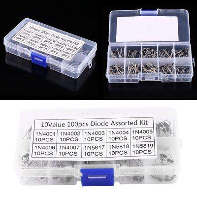 100pcsbox 10values Rectifier Diode Assortment Kit 1n40011n4007 1n58171n5819
