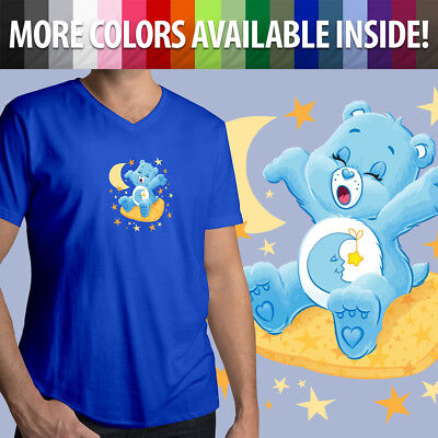 Care Bears Bedtime Bear Sleepy Moon Stars Cartoon Sleep Mens Tee V-Neck T-Shirt (Sleepy Bear Tee)