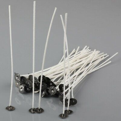 50Pcs 6'' Candle Wicks Cotton Core Pre Waxed With Sustainers For Candle Making