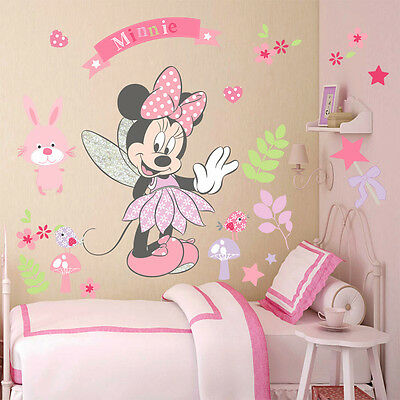 Lovely Minnie Mouse Wall Stickers Vinyl Decals Girls Nursery Decor Bedroom Mural