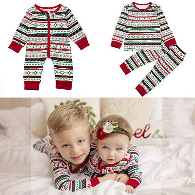 Christmas Jumpsuit Sleepwear Top Pants Pajama Clothes Set for Girls Boys Baby - Christmas Pajamas For Toddler Girls