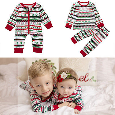 Christmas Jumpsuit Sleepwear Top Pants Pajama Clothes Set for Girls Boys Baby