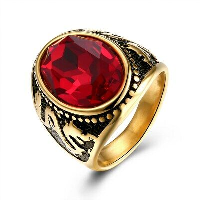 Mens Gold Stainless Steel Oval Ruby Red CZ Wedding Band Ring Size 7 #DR31