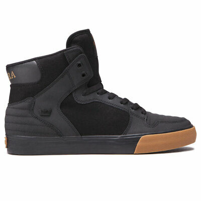 Supra Men's Vaider Hi Top Sneaker Shoes Black Blk Gum Footwe