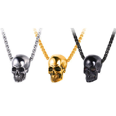 U7 Punk Skull Skeleton Charm Pendant Stainless Steel Wheat Chain Men's Necklace - Punk Skeleton