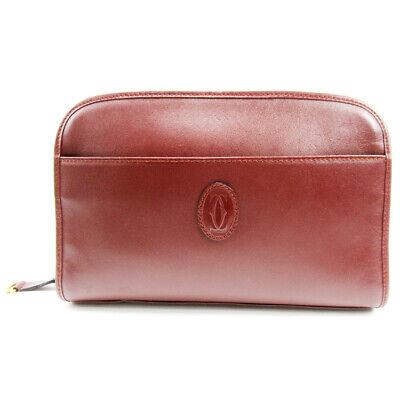 Auth Cartier Clutch Bag Must Line Bordeaux Leather Auth  T17204
