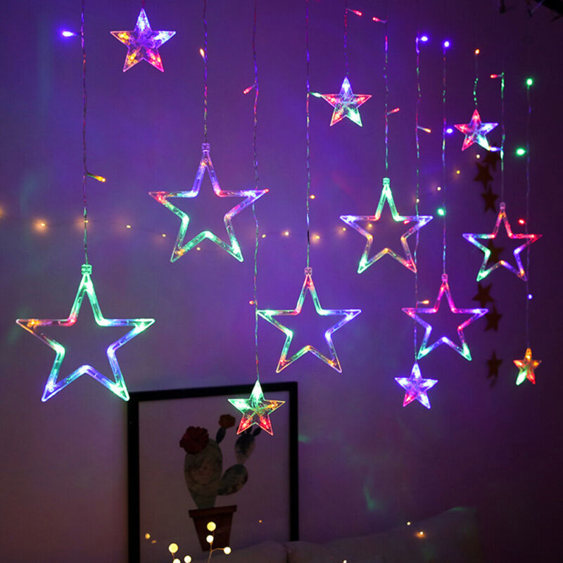 3.5M+138LED+Curtain+Fairy+String+Lights+Twinkle+Star+Plug+in+Window+MULTI-COLOUR