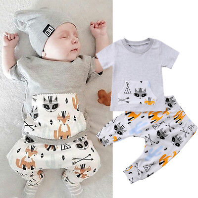 USA Newborn Kids Baby Boy Summer Tops T-shirt Striped Pants 2Pcs Outfits Clothes