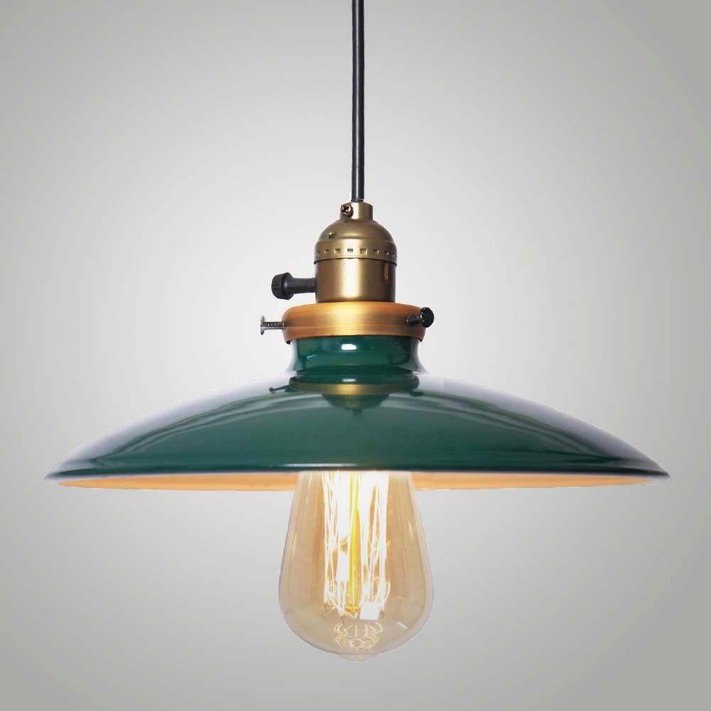 Industrial Pendant Light Green: Metal Green Shade Vintage Retro LED Ceiling Chandelier