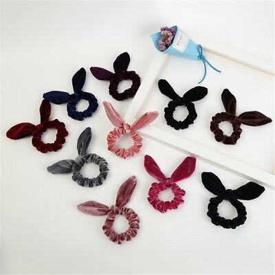 (Cute Velvet Rabbit Bunny Ear Hair Band Rope Bowknot Ponytail Holder Scrunchies C)