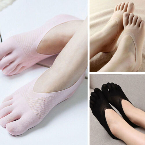 5 Pairs Womens Cotton Invisible Toe Socks No Show Low Cut Fi