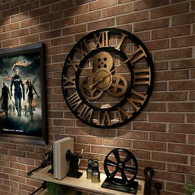 Large 3D Vintage Wall Clock Silent Wall Clock Roman Numeral Large Round Metal TR