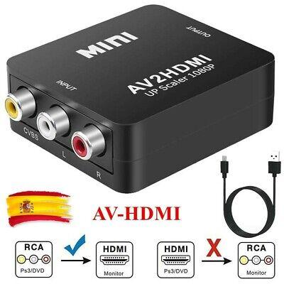 Mini Av HDMI 1080P RCA Audio Video Compuesto CVBS Convertidor Adaptador HDTV/DVD