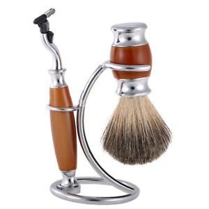 Men's Shaver Safety Razor & Stainless Steel Brush Holder Stand Shaving Brush Set