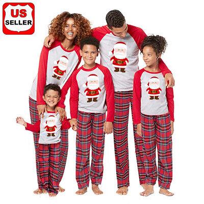 US Stock Family Matching Christmas Pajamas Set Women Baby Kids Winter Sleepwear