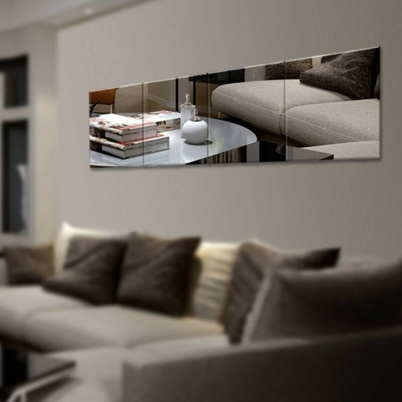Home Decoration - 16/32/48pc Mirror Tile Wall Sticker Square Self Adhesive Decor Stick On Art Home