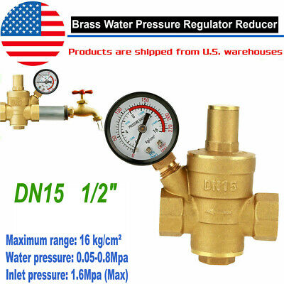 Dn15 Brass Water Pressure Regulator Npt 12inch Adjustable Reducer Gauge Meter