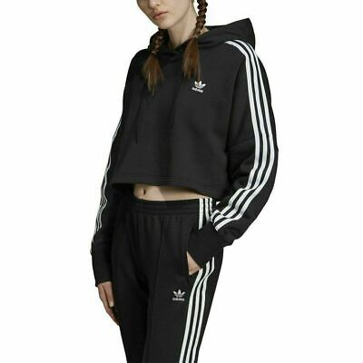 Adidas Original Womens Cropped Hooded Sweater Black White ED7554 Size Small
