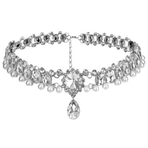 Women Girls Statement Crystal Choker Necklace Wedding Collar