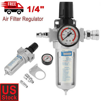 14 Air Compressor Filter Water Separator Trap Tools Kit With Regulator Gauge