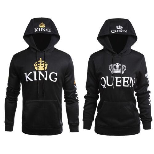 Men Women King and Queen Hoodies Jumper Sweater Tops Lover C