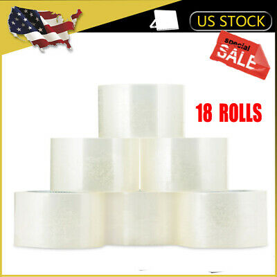 18 Rolls Clear Packing Packaging Carton Sealing Tape 1.9-inch x110 Yards US SHIP