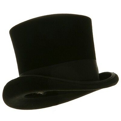 Adult Black 100% Wool Victorian Gentlemens Tall Top Hat Size 7 1/2 - 7 5/8
