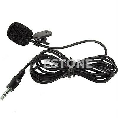 3.5mm Hands Black Free Clip On Mini Lapel Mic Microphone For PC Notebook Laptop