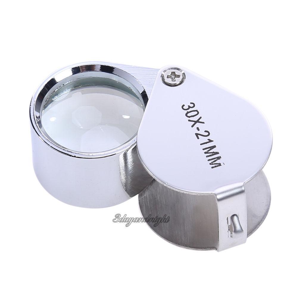 30 Times Magnifier 30X21MM Metal Fold Identify Jewelry Mirro