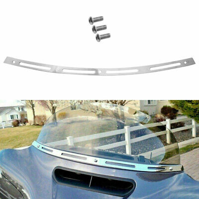 Chrome Stainless Steel Slotted Batwing Fairing Windshield Trim For Harley 96-13