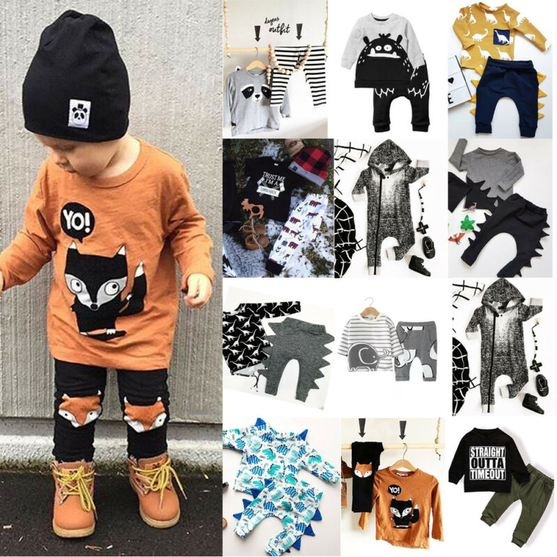 US Stock Casual Newborn Kids Baby Boy Tops T-shirt Pants Trousers Outfit Clothes