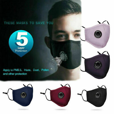 US Air Purifying Masks Cotton Unisex Reusable Anti Fog Washable Mouth Fliter