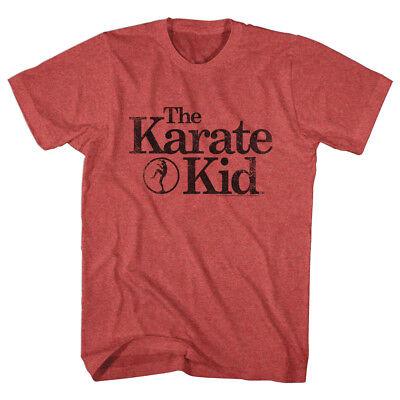 The Karate Kid T-Shirt Distressed Black Text Logo Red Heather Tee Distressed Logo Kids T-shirt