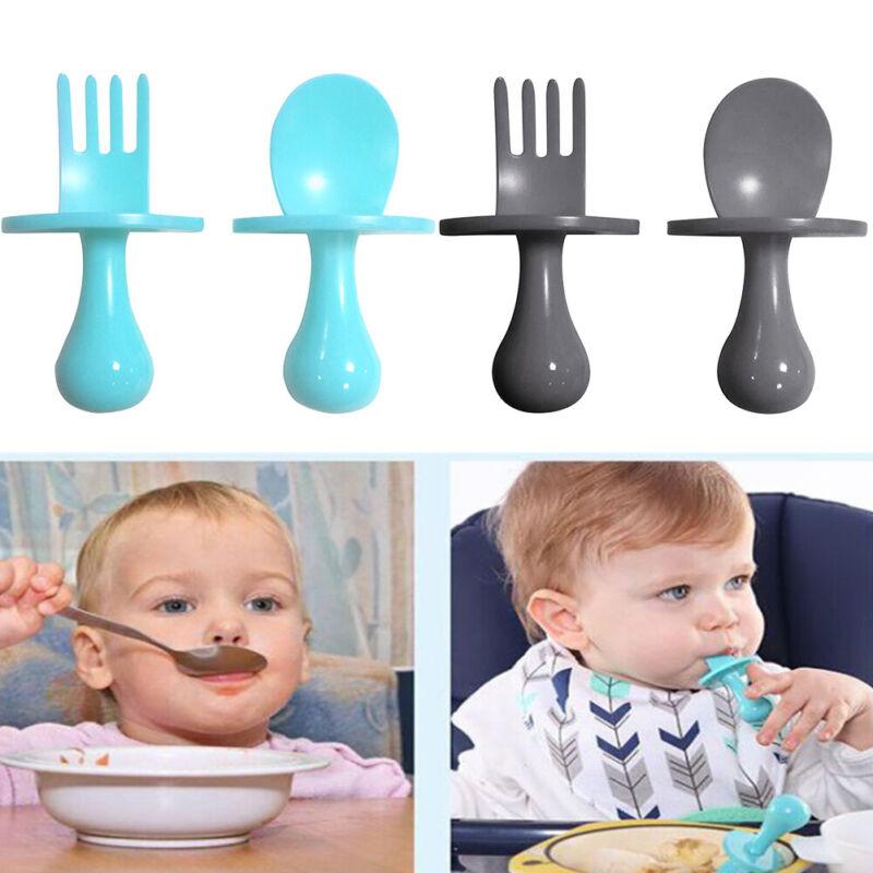 Dinnerware Baby Training Spoon Fork Easy Clean Cutlery Set Toddler Self Feeding