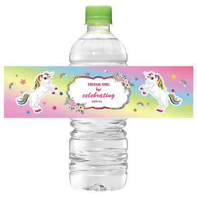 12× Unicorn Water Bottle Label Sticker Labels Baby shower Birthday Party - Water Bottle Label Paper