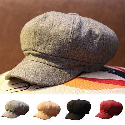 Fashion Womens Solid Warm Winter Cap Newsboy Cabbie Driving Octagonal Berret Hat