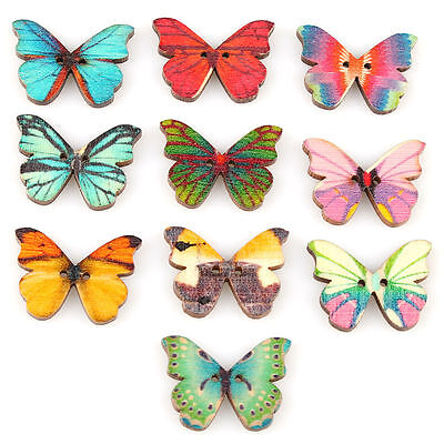 50pcs 2 Holes Mixed Butterfly Shape Wooden Sewing Mend Scrapbooking DIY Buttons](Wooden Butterfly)
